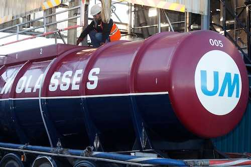 Loading a Road tanker with Molasses at the UMI Depot.