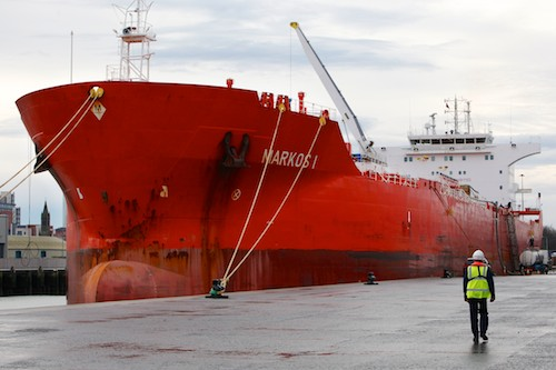 A delivery of Molasses arrives at Belfast Port